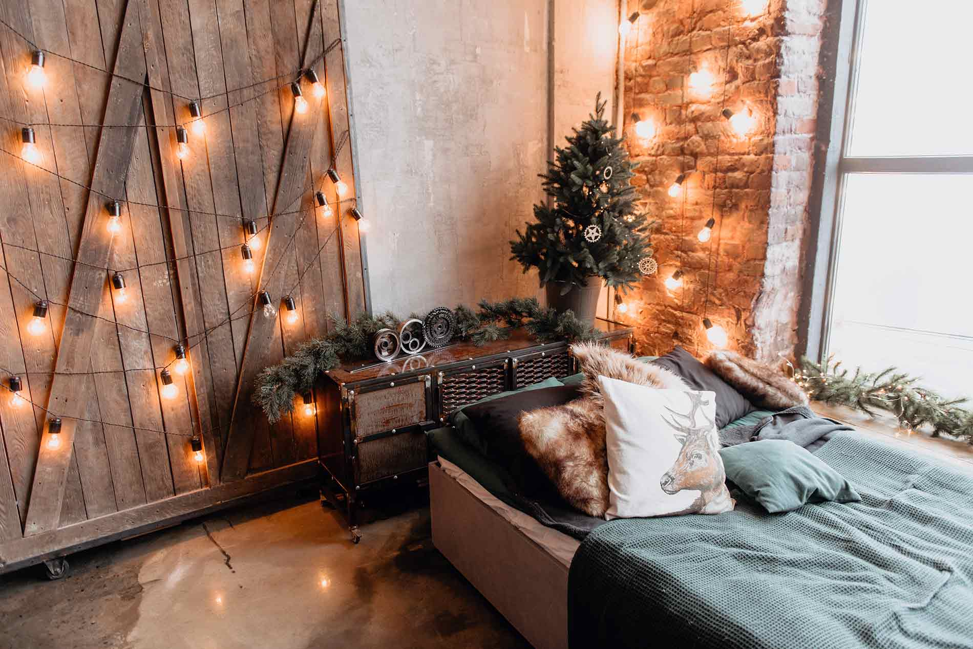 light strings in a bedroom