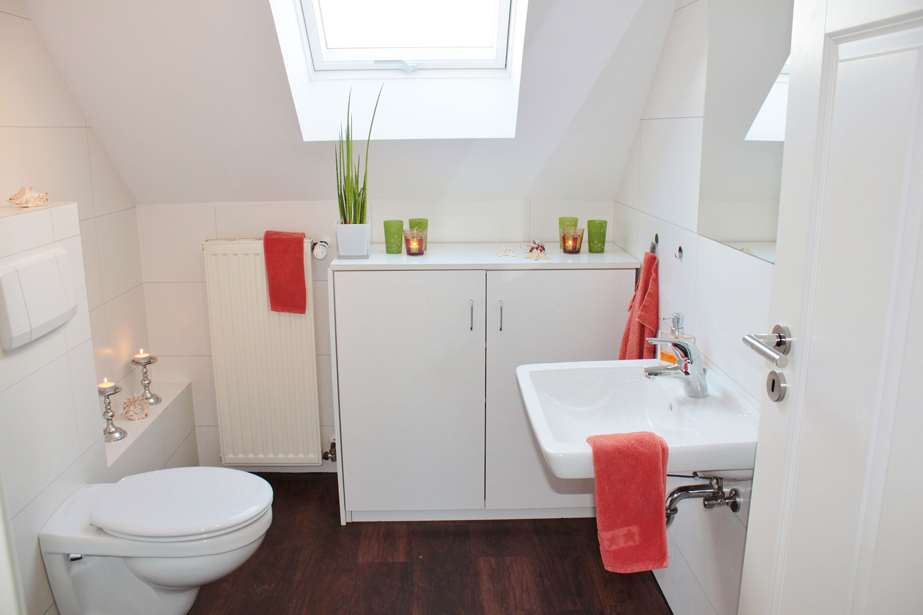 Small bathroom with large skylight