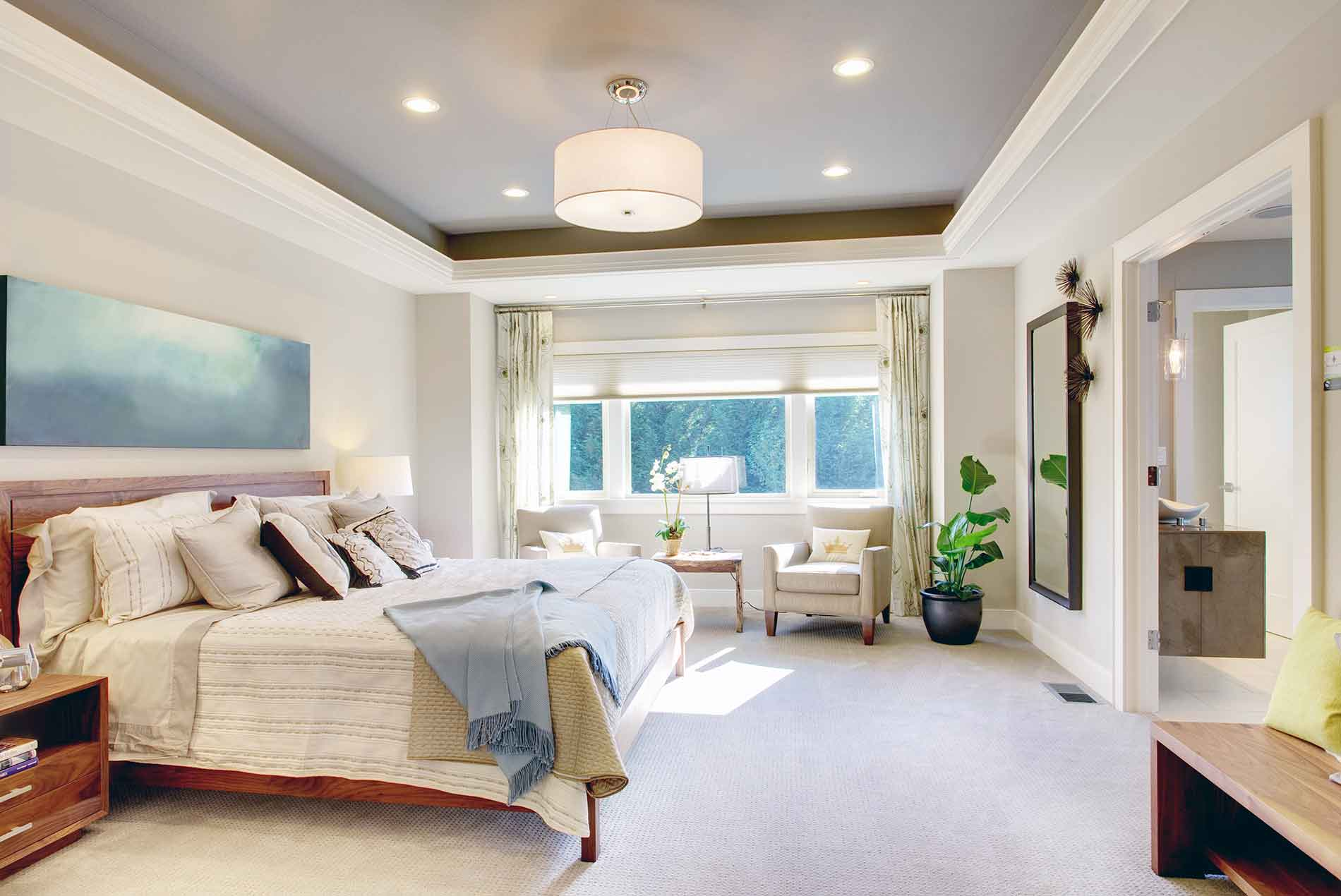 tidy bedroom with white carpet
