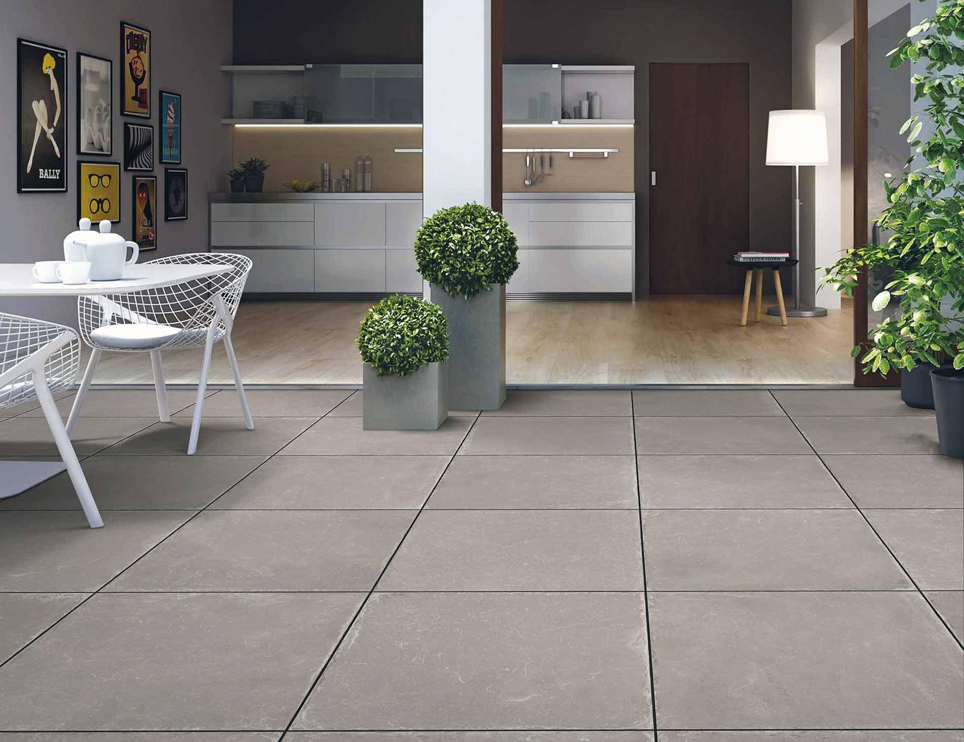kitchen with grey porcelain tile