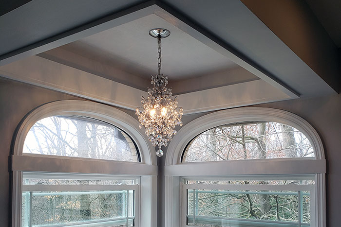 new windows and chandelier