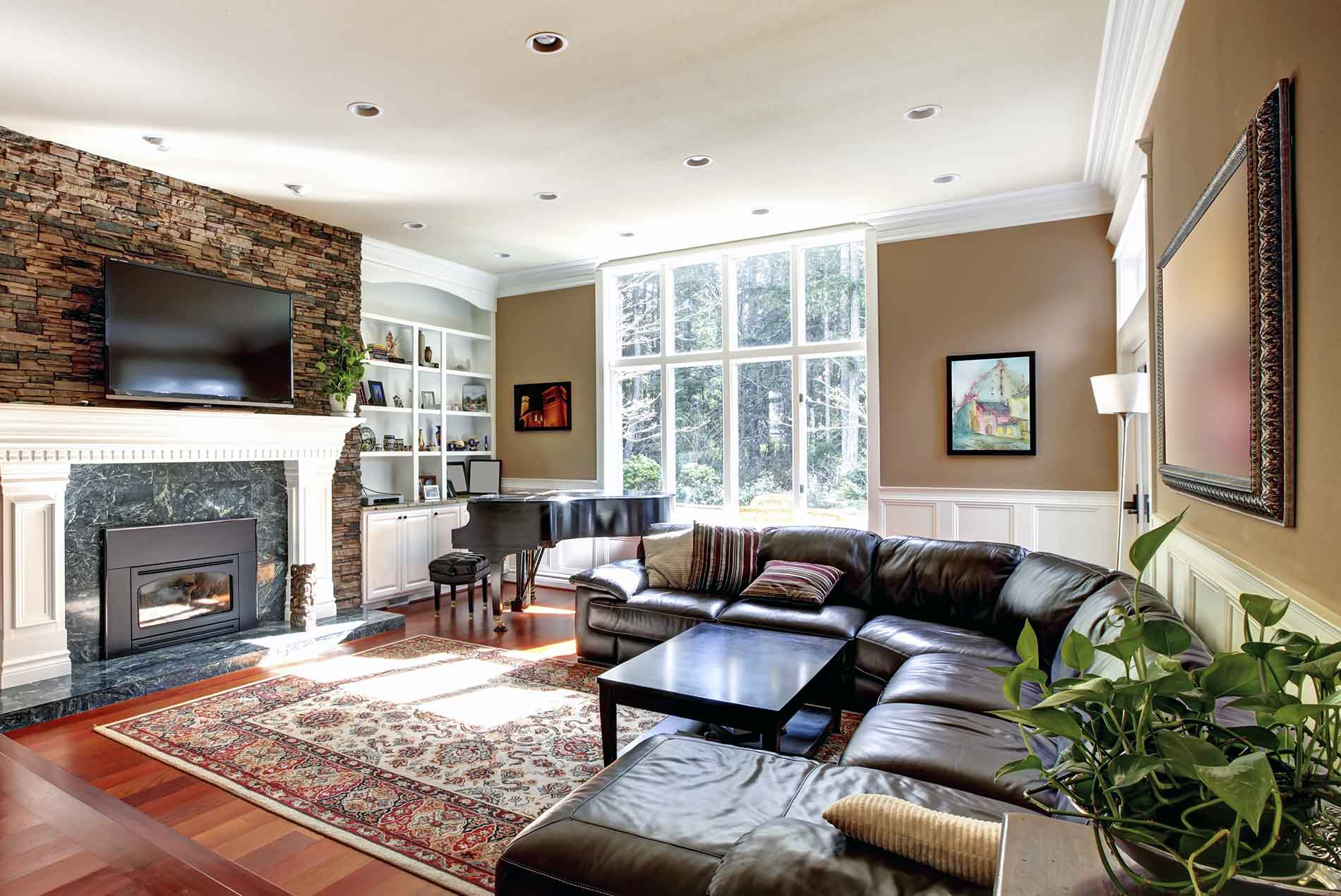 formal living room with crown molding